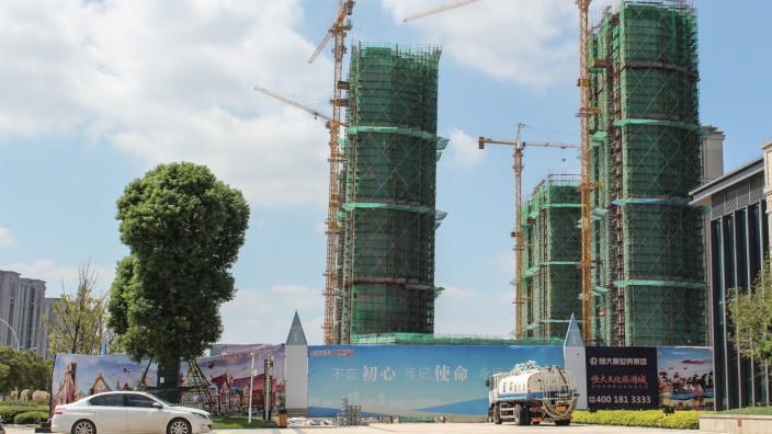 Immobilienmarkt: Eines der Bauprojekte von Evergrande in der chinesischen Provinz Jiangsu: Das Unternehmen ist in existenzbedrohenden Turbulenzen.