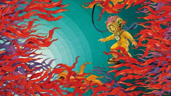 """Kinderbuch: Illustration aus Elisa Sabatinellis und Jacopo Brunos: """"Emilio und das Meer""""."""