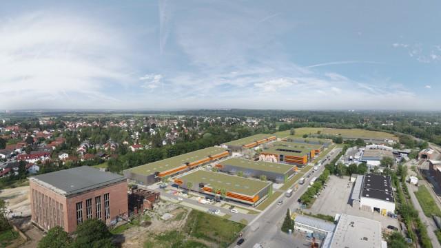 """Aubing: Neue Nachbarn: Neben dem künftigen Kulturtempel """"Bergson"""" soll sich ein Unternehmerdorf ansiedeln. Simulation: aurelis Real Estate"""