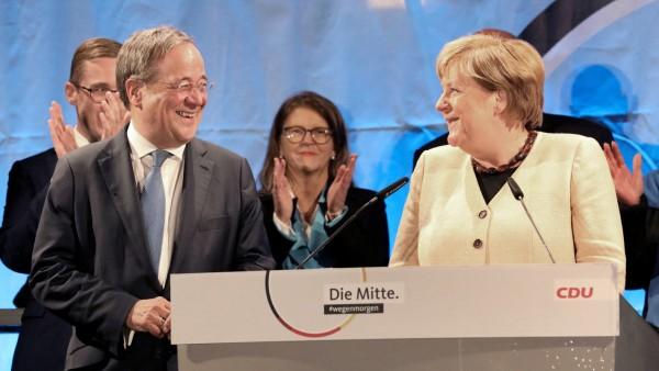 CDU-Wahlkampfveranstaltung mit Merkel und Laschet