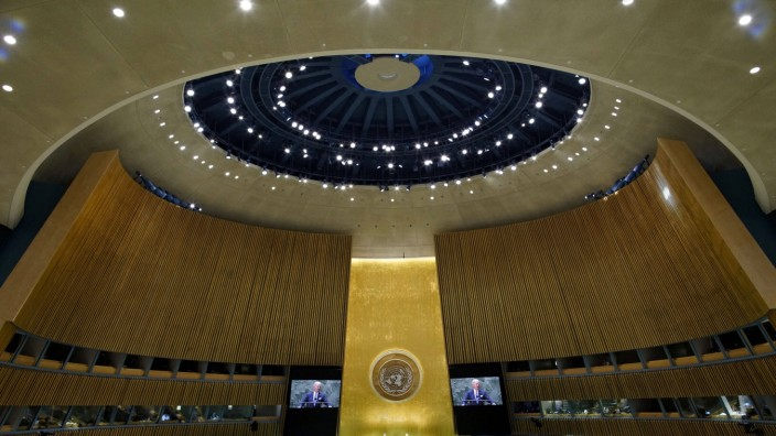 U.S. President Joe Biden speaks at the 76th Session of the U.N. General Assembly on Tuesday, Sept. 21, 2021 in New York