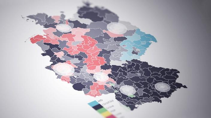 Bundestagswahl 2021: Die Wahlkreise auf einer Deutschland-Karte