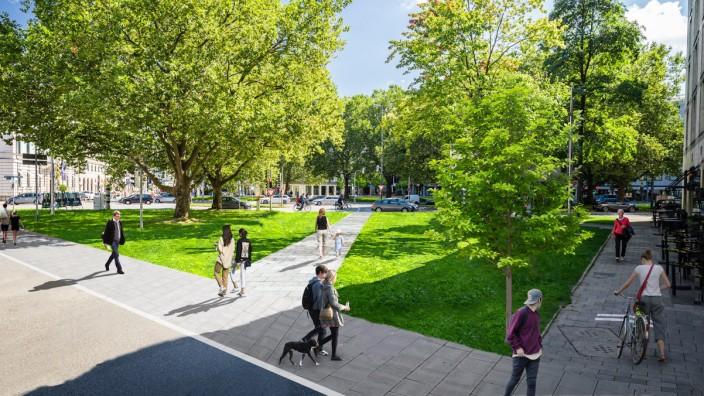 Verkehrswende: Zwischen Brienner Straße und Maximiliansplatz soll eine neue Grünfläche samt Fußgängerweg entstehen. Simulation: Andreas Gregor/SPD/Volt