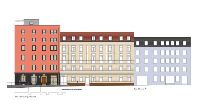 Haidhausen: Das Gebäude an der Kirchenstraße 96 darf nicht so hoch werden wie bisher geplant. Simulation: Biersack Brunner Ingenieure