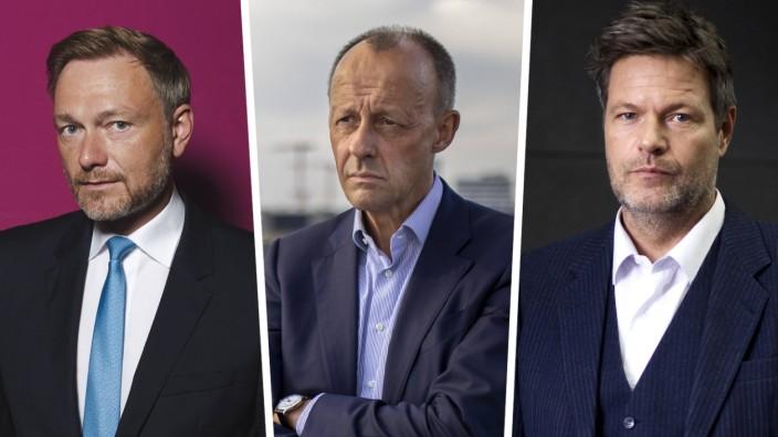Bundestagswahl: Der Anzug sitzt schon, die Amtsmiene auch: Christian Lindner, Friedrich Merz und Robert Habeck wollen das wichtigste deutschen Ministerium übernehmen.