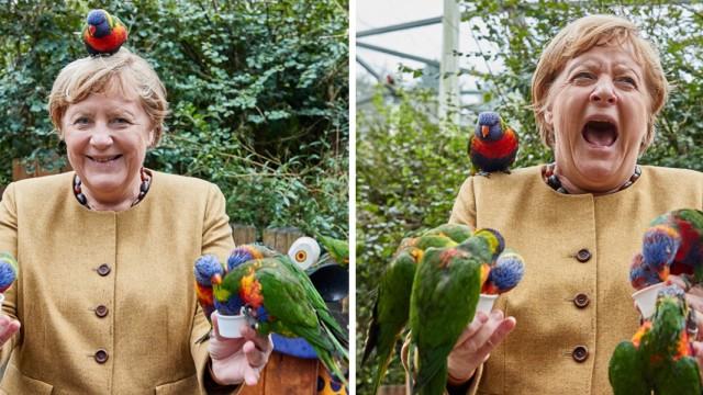 Bundeskanzlerin Angela Merkel besucht den Vogelpark Marlow, 23.09.2021