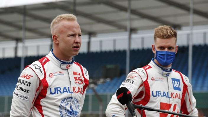 Formula 1 2021: British GP SILVERSTONE CIRCUIT, UNITED KINGDOM - JULY 15: Nikita Mazepin, Haas F1, and Mick Schumacher,; Schumacher Masepin Haas
