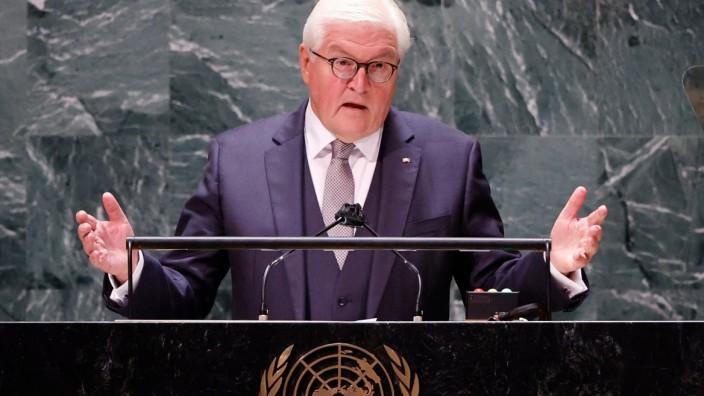 Bundespräsident Frank-Walter Steinmeier bei seiner Rede vor den Vereinten Nationen.