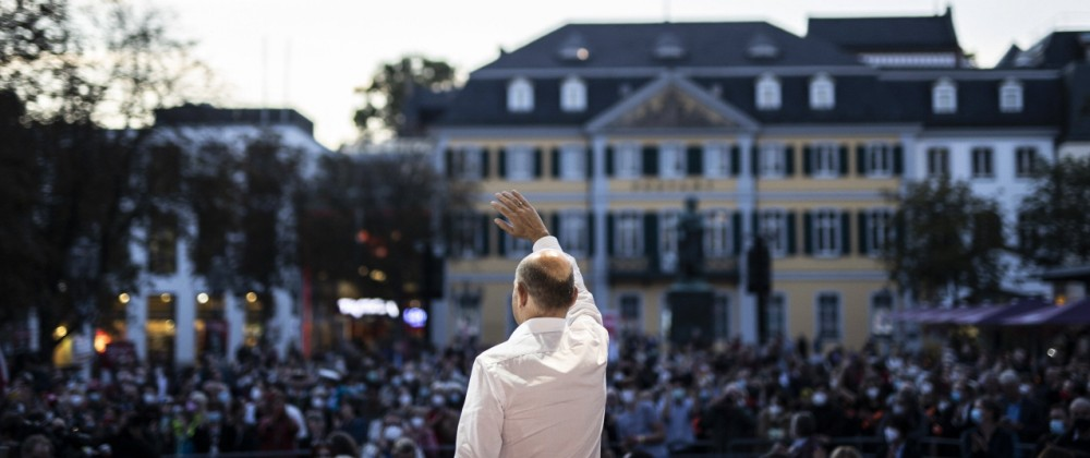 Olaf Scholz, Kanzlerkandidat der SPD, aufgenommen im Rahmen einer Wahlkampfveranstaltung in Bonn, 22.09.2021. Bonn Deut