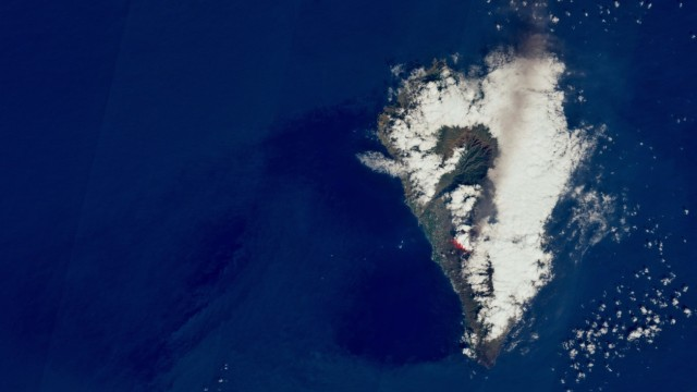 Satellite view shows lava flow following the eruption of a volcano on the island of La Palma