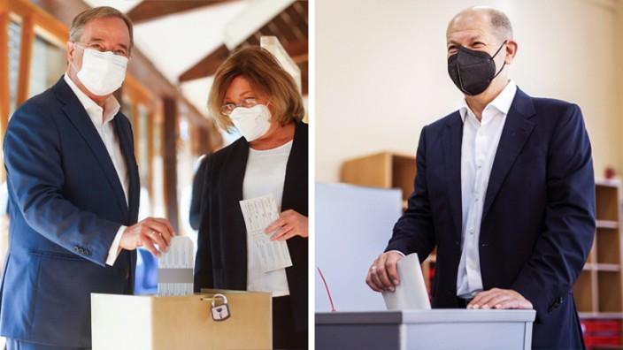 Bundestagswahl: Armin Laschet (links) und Olaf Scholz bei der Stimmabgabe.
