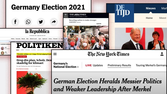 Bundestagswahl: Internationale Pressestimmen: Die internationalen Pressestimmen schwanken zwischen Überlegungen, welche Dreier-Koalition am Ende die Regierung stellt und ob Deutschlands Position in Europa geschwächt werden könnte.