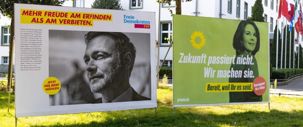 DEU, Deutschland, Nordrhein-Westfalen, Münster, 31.08.2021: Bundestagswahlkampf 2021 / Wahlplakate / Bündnis 90/Die Grü