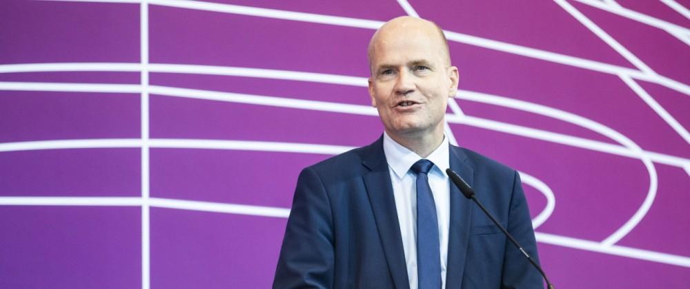 Ralph Brinkhaus, Vorsitzenden der CDU/CSUâ0  -Fraktion im Deutschen Bundestag, aufgenommen bei einem Pressestatement vor