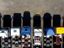 Lorries are parked up in a yard in Stoke-on-Trent