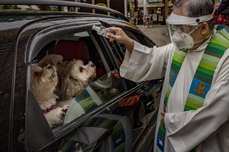 Mall Holds Drive-Through Pet Blessing For World Animal Day
