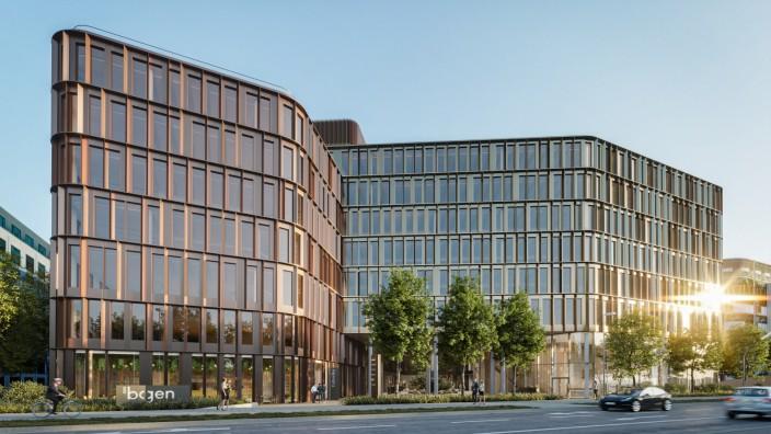 """Neubauprojekt am Vogelweideplatz: Am Donnerstag war die Grundsteinlegung für die Büroimmobilie """"Der Bogen""""."""