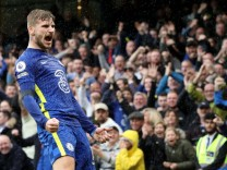 Timo Werner (C) celebrates, before his goal was ruled out by VAR at the EPL match Chelsea v Southampton, at Stamford Bri