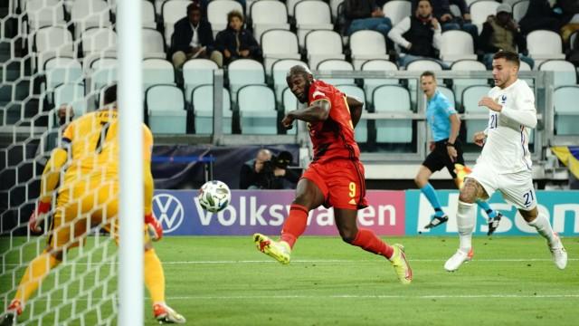 Gol - Romelu Lukaku (Belgio) - Lucas Hernandez (Francia) - Hugo Lloris (Francia) Calcio: Belgio - Francia - League