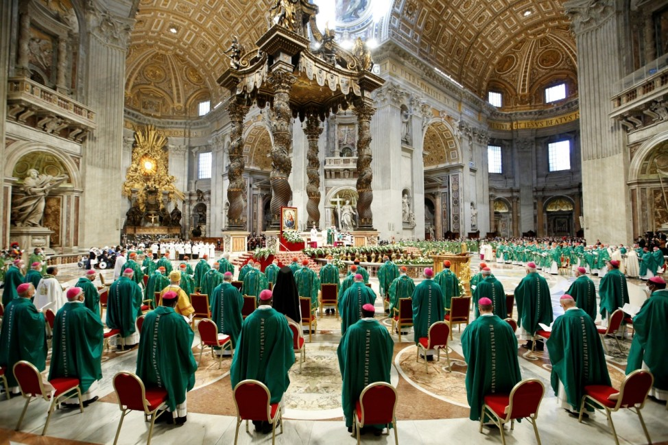 Pope Francis leads a mass to open the synod of bishops in Vatican City
