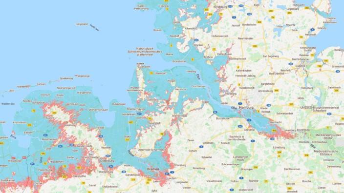 Klimawandel: Von der Nordsee überspülte Landflächen bei einer Erwärmung um 1,5 Grad (türkis) und drei Grad Celsius (rot).