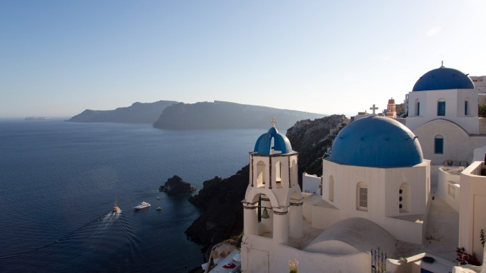 Oia at Santorini Blue domes and their bell tower in Oia. Santorinichurch, greece, architecture, blue, santorini, oia, is