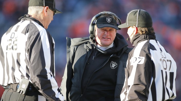 DENVER, CO - DECEMBER 29: Oakland Raiders Head Coach Jon Gruden was not happy with the outcome of a touchdown review dur