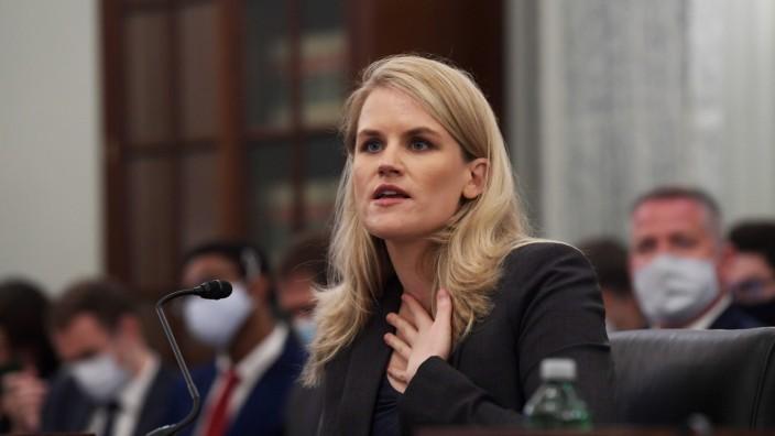 October 5, 2021, Washington, DC, United States: Former Facebook employee Frances Haugen testifies before Senate Subcomm