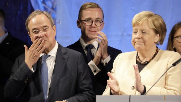 Wahlkampfauftritt von Kanzlerkandidat Armin Laschet, CDU, Philipp Amthor, MdB, CDU, und Bundeskanzlerin Angela Merkel au