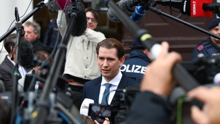 Österreich: Ex-Bundeskanzler Sebastian Kurz (ÖVP) vor der Presse