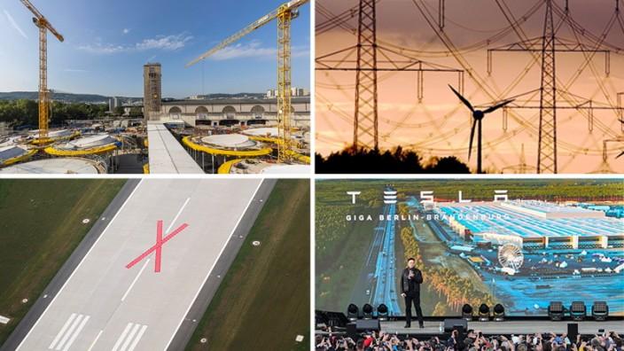 Bürokratie: Umstrittene Projekte, bei denen es teilweise nur sehr langsam vorangeht: Hauptbahnhof in Stuttgart, Windräder und Stromtrassen in Brandenburg, Tesla-Chef Elon Musk im Werk in Grünheide und der Berliner Flughafen BER.