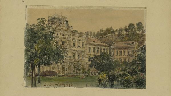 """Rudolf von Alt, """"Häuser in Teplitz"""""""