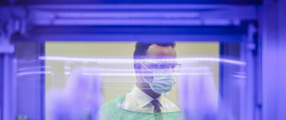 Bundesgesundheitsminister Jens Spahn (CDU) besucht das Universitaetsklinikum des Saarlandes in Homburg am 08.05.2020. Ho