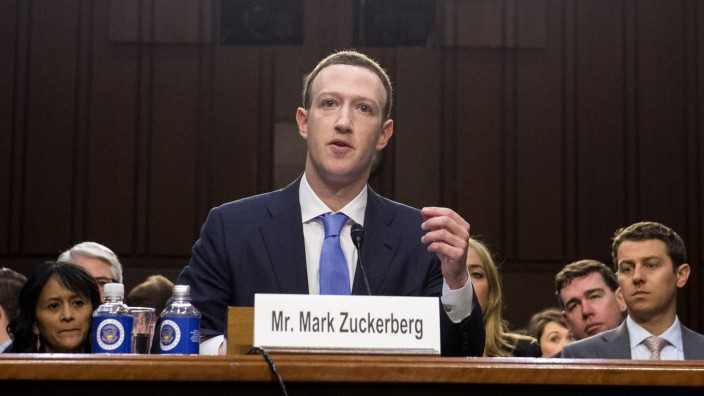 Facebook CEO Mark Zuckerberg testifies during a Joint Senate Judiciary and Commerce Committee hearin