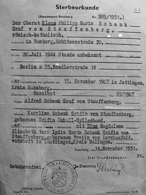 Sterbeurkunde Stauffenberg