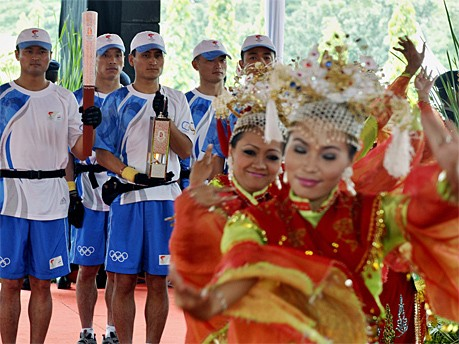 Fackellauf in Jakarta; AFP