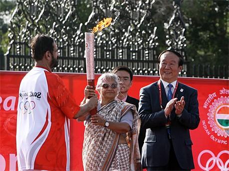 Fackellauf in Neu Delhi; AFP