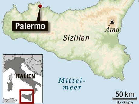 Europa Italien Sizilien Palermo Katakomben Mumien, Karte: SZ-Grafik