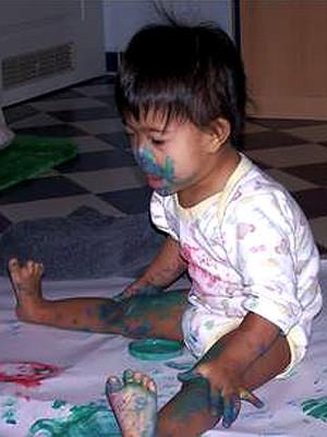 Kind, Fingerfarben, Kreativität