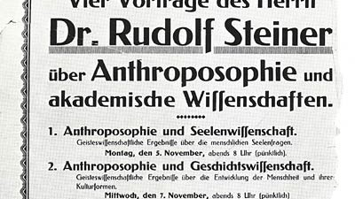 Vortragplakat zu einer Veranstaltung mit Rudolf Steiner