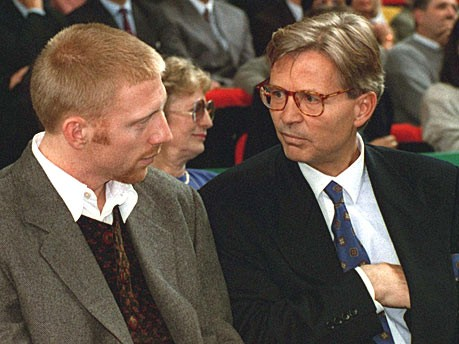Das Mädchen und die Männer; Sandy Meyer-Wölden, Boris Becker, Axel Meyer-Wölden; dpa