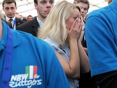 Landtagswahl NRW, geschockte Anhängerin