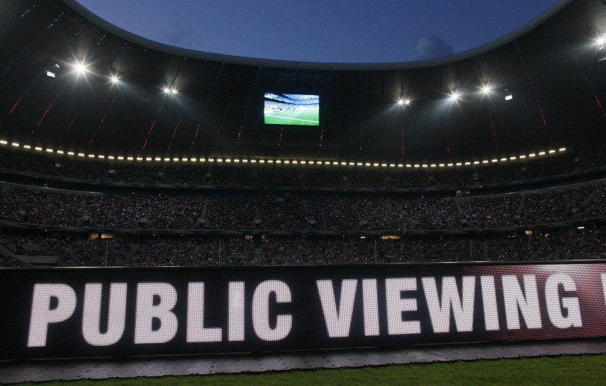The stadium of Bayern Munich is packed with supporters during a public viewing of the 2010 Champions League final between Bayern Munich and Inter Milan at the Santiago Bernabeu stadium in Madrid