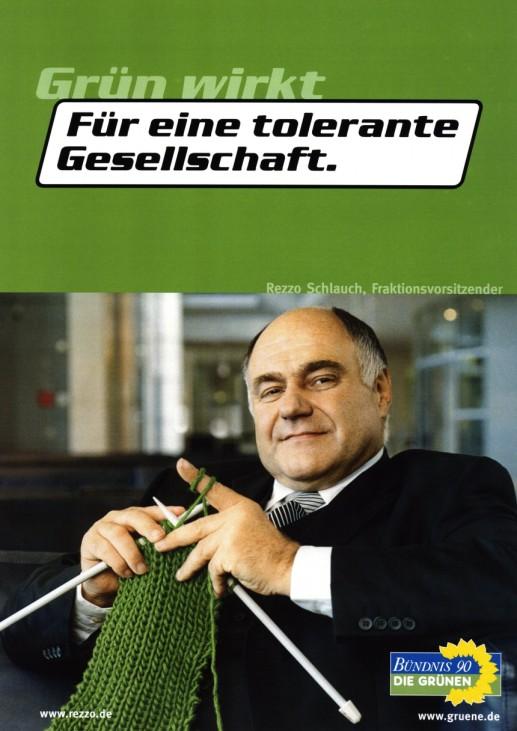 Wahlkampfplakat der Grünen mit Rezzo Schlauch, 2002
