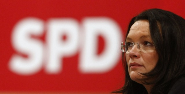 Nahles of Germany's SPD attends party congress in Dresden