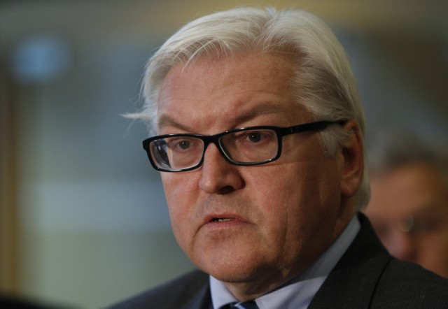 SPD parliamentary group leader Steinmeier speaks to media in reaction to resignation of German President Koehler in Berlin
