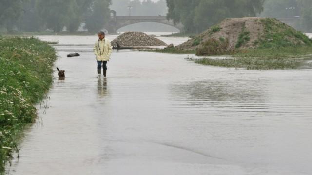Isar mit Hochwasser