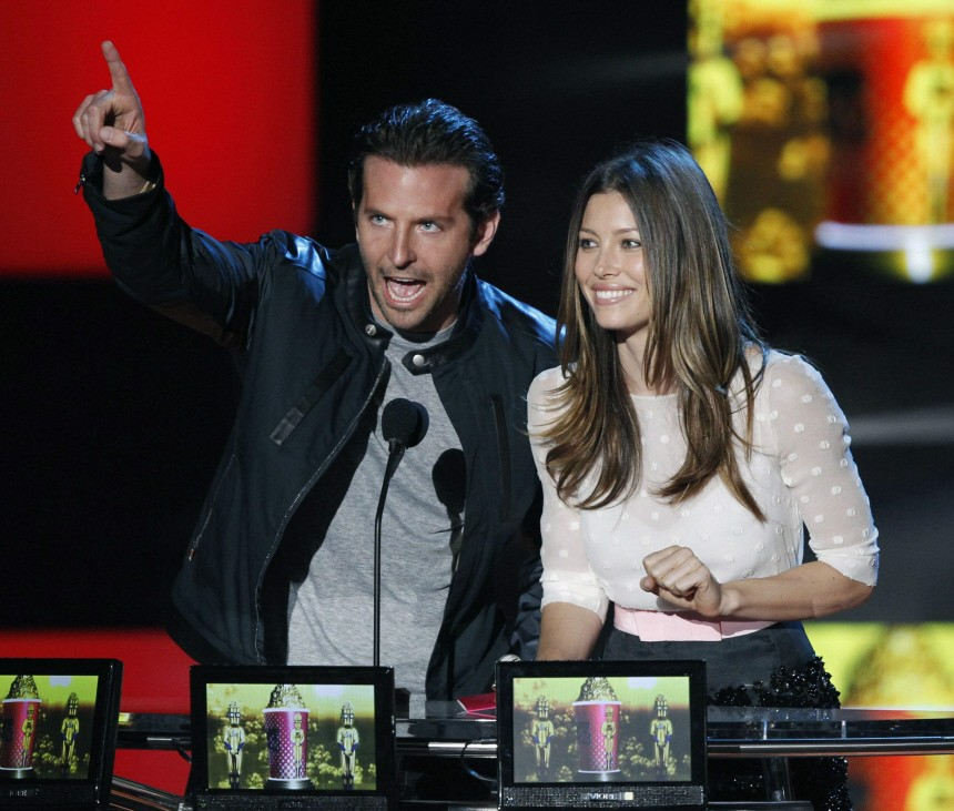 Actors Cooper and Biel present the Best Kiss award at the 2010 MTV Movie Awards in Los Angeles