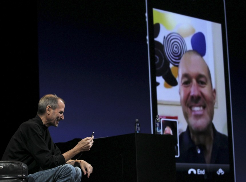 Apple CEO Steve Jobs demonstrates video conferencing at the unveiling of the iPhone 4 in San Francisco