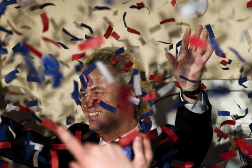 Dutch right-wing politician Geert Wilders of the Freedom Party celebrates after the announcement of the results for the general elections, in The Hague